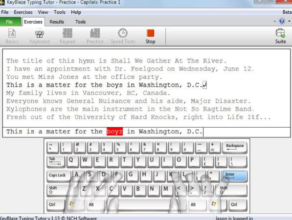برنامج مدرب الطباعة typing tutor